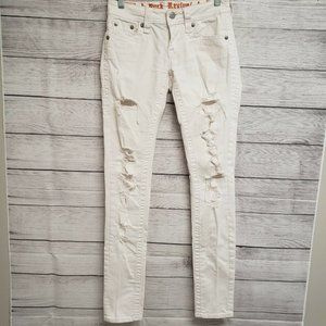Rock Revival Womens Anabela White Flat Front Ripped Denim Skinny Jeans Size 25